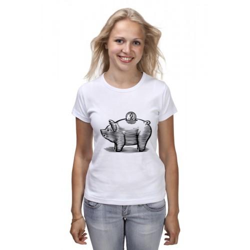 Женская футболка Копилка Хрюшка