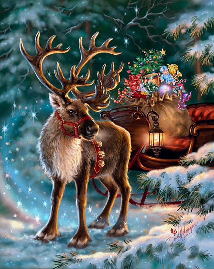 с новым годом открытка олени чтоб без горя